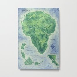 Jurassic Park - Map - Colour Metal Print
