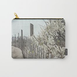 Vintage Inspired Sand Fence and White Flowers at the Beach with Blue Sky Carry-All Pouch