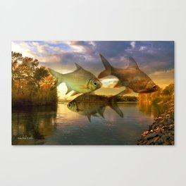 Fish And Lake By Annie Zeno  Canvas Print