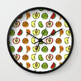 Fruit Abstract Pattern Oranges, Apples and Limes Wall Clock