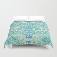 stickers Duvet Covers featuring Botanical Geometry - nature pattern in blue, mint green & cream by micklyn