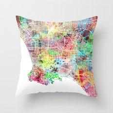 Los Angeles map california Throw Pillow