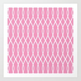 Pink and White Graphic Pattern Art Print