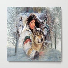 Mountain Woman With Wolfs Metal Print