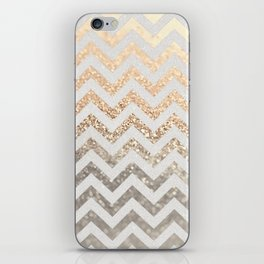 GOLD & SILVER CHEVRON iPhone Skin