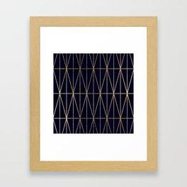 Modern gold geometric triangles pattern navy blue watercolor Framed Art Print