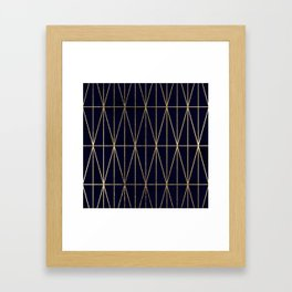 Modern gold geometric triangles pattern navy blue watercolor Framed Art Print