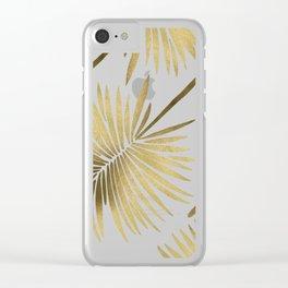 Tropical Fan Palm – Gold Palette Clear iPhone Case