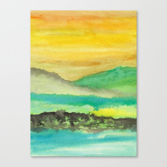 Watercolor abstract landscape 06 Canvas Print