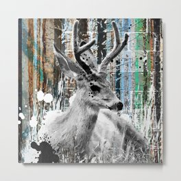 Deer in the Industrial Woods Metal Print
