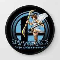 super smash bros Wall Clocks featuring Pit - Super Smash Bros. by Donkey Inferno