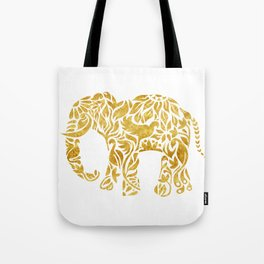 Floral Elephant in Gold Tote Bag