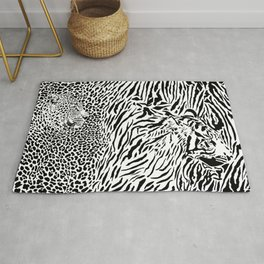 Leopard and tiger and pattern background Rug