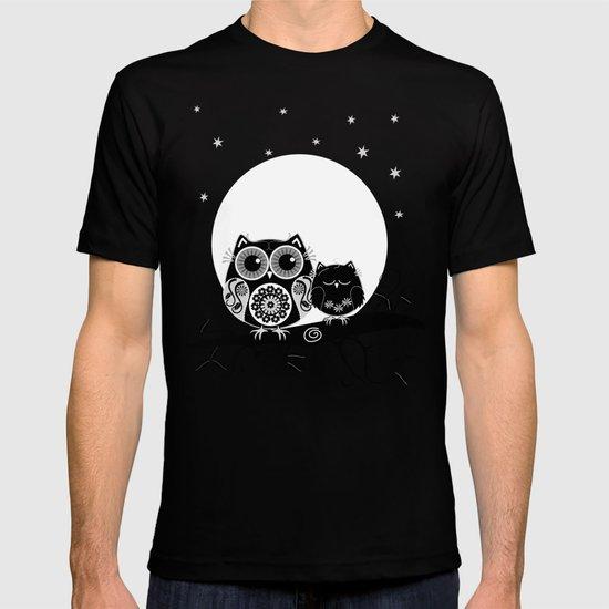 B&W Flower power Owl and her Sleepy Baby T-shirt