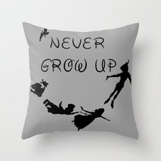 Never Grow Up - Inspired by Peter Pan Throw Pillow