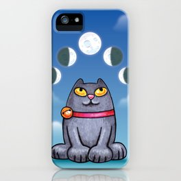 Cat looking at the moon iPhone Case