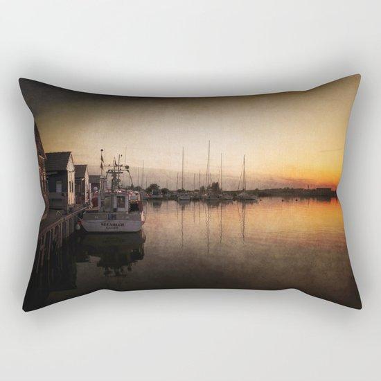 Landing stage - Sundown Harbour Boat at Sea #Society6 Rectangular Pillow