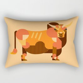 Bull Orange Rectangular Pillow