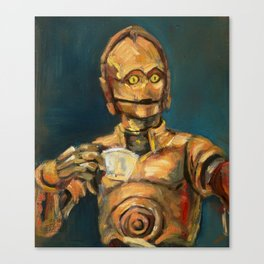 Robot coffee break Canvas Print