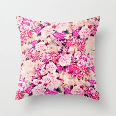 Elegant Pink Chic Floral Pattern Girly Peonies Throw Pillow