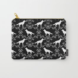 German Shepherd florals dog lovers dog silhouette floral pet pattern dogs Carry-All Pouch