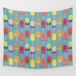 Fruit popsicles - blue version Wall Tapestry