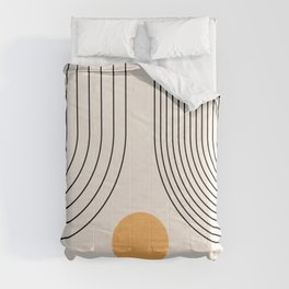 Geometric Lines in Black and Beige 26 (Rainbow and Sun Abstraction) Comforters