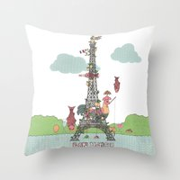eiffel tower Throw Pillows featuring Eiffel Tower by ShangheeShin