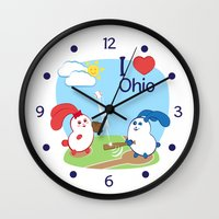 coraline Wall Clocks featuring Ernest and Coraline | I love Ohio by Hisame Artwork