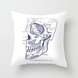 Antero Lateral Region of The Skull In Blue Throw Pillow