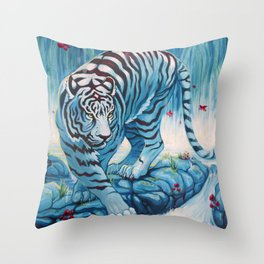 Tiger by the Waterfall Throw Pillow