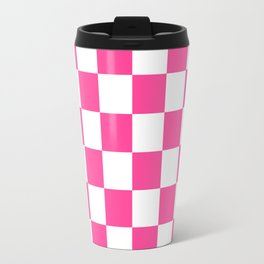 Cheerful Pink Checkerboard Travel Mug