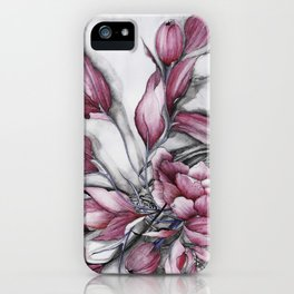"""Dancing"" in red, abstract floral ink watercolor drawing iPhone Case"