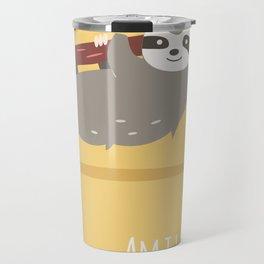 Sloth card - Am I late? Travel Mug
