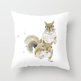 Two Squirrels Throw Pillow