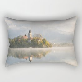 Foggy morning at Lake Bled with island and church Rectangular Pillow