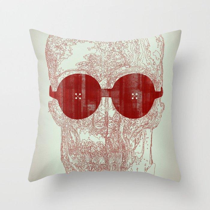 Unravel skull Throw Pillow