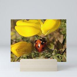 Ladybug and Yellow petals Mini Art Print