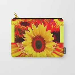 RED & YELLOW SUNFLOWERS MODERN ABSTRACT Carry-All Pouch
