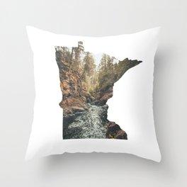 Cascade River State Park Minnesota Outline Throw Pillow