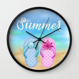 Beach & summer slippers  Wall Clock