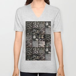 Faux Patchwork Quilting - Black Unisex V-Neck