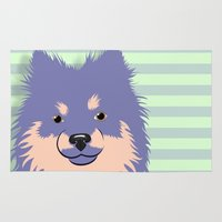 pomeranian Area & Throw Rugs featuring Olie the Pomeranian in Purple by JENNY RED