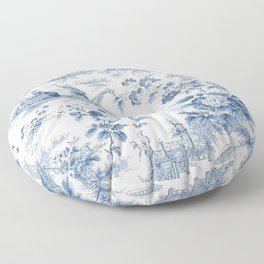 Powder Blue Chinoiserie Toile Floor Pillow