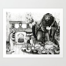 Scrooge and the Ghost of Christmas Present Art Print