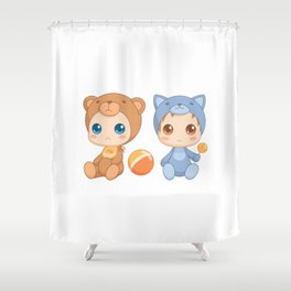 Babies in Cat and Bear Jumpsuits Shower Curtain