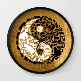 Yin-Yang Cats - Gold Wall Clock