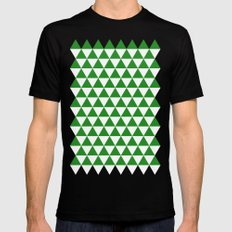Triangles (Forest Green/White) Black Mens Fitted Tee MEDIUM