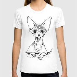 Big Eyed Pretty Wrinkly Kitty - Sphynx Cat Illustration - Nekkie - Cat Lover Gift T-shirt