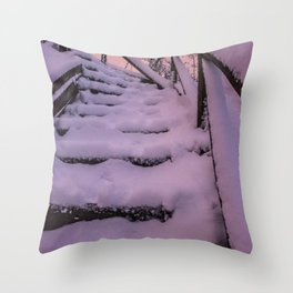 Snow covered Stairway to Heaven Throw Pillow